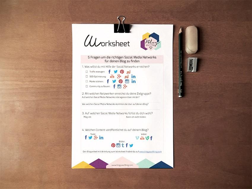 Gratis Worksheet: Nutzt du die richtigen Social Media Kanäle für deinen Blog?