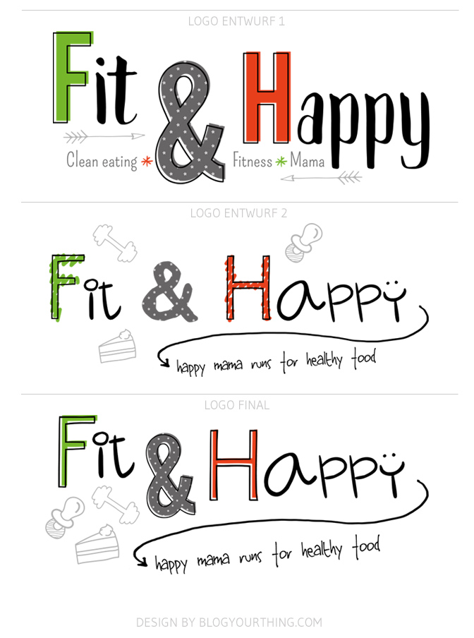 Just Launched: Fit & Happy - Logo-Varianten   Blog Your Thing