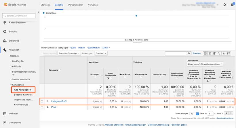 Google Analytics: Instagram Kampagne