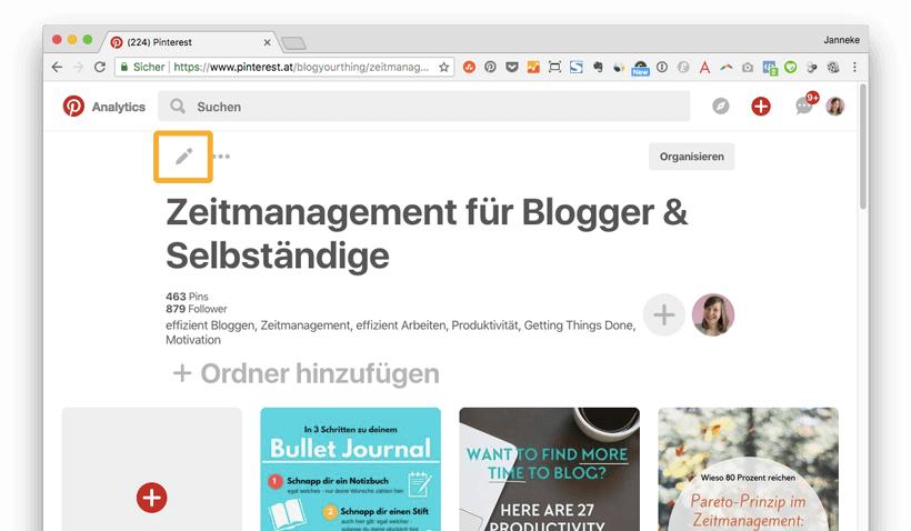 Pinterest für Blogger: So bearbeitest du die Beschreibung eines Pinterest Boards
