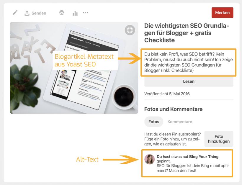 Pinterest für Blogger: Rich Pin Beschreibung versus ALT-Text