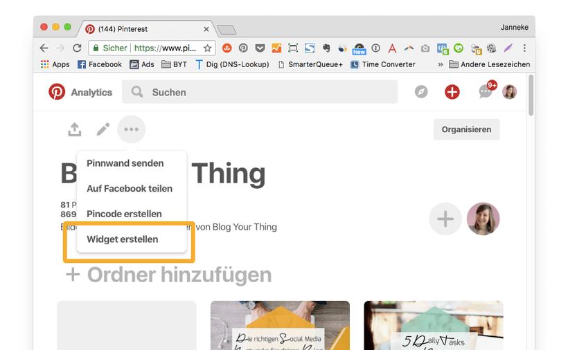 Pinterest für Blogger: Widget erstellen