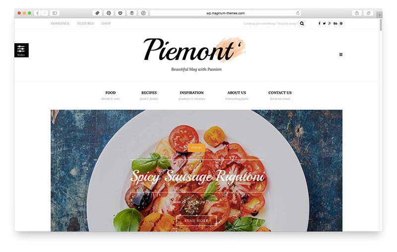 Wordpress Themes für Food & Lifestyle Blogger: Piemont
