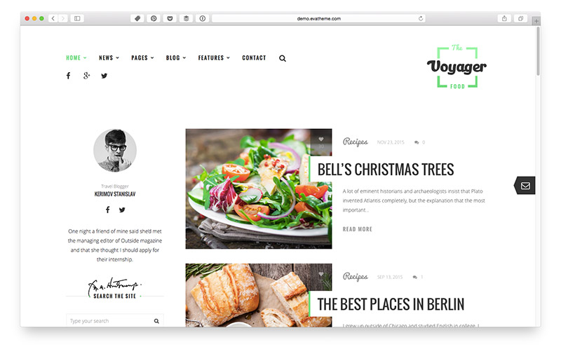 Wordpress Themes für Food & Lifestyle Blogger: Voyager