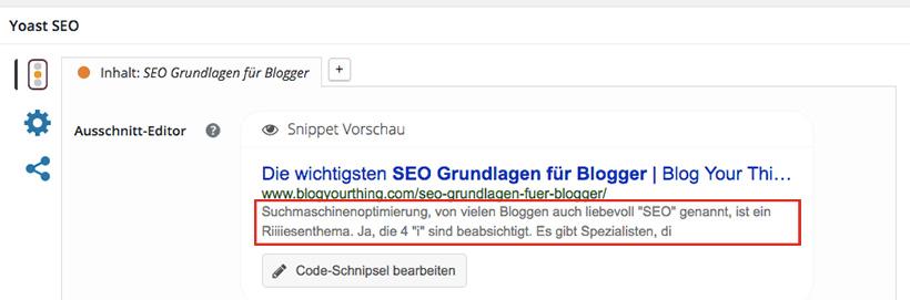 SEO Grundlagen für Blogger: Snippet / Metabeschreibung bearbeiten. So bestimmst du, wie dein Blogartikel in den Suchergebnissen angezeigt wird