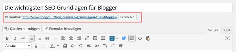 SEO Grundlagen für Blogger: Keyword in den Permalink einfügen - Permalink bearbeiten