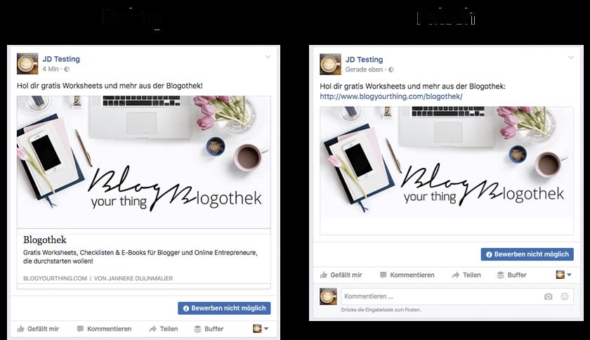 Facebook Basics für Blogger: Links richtig posten