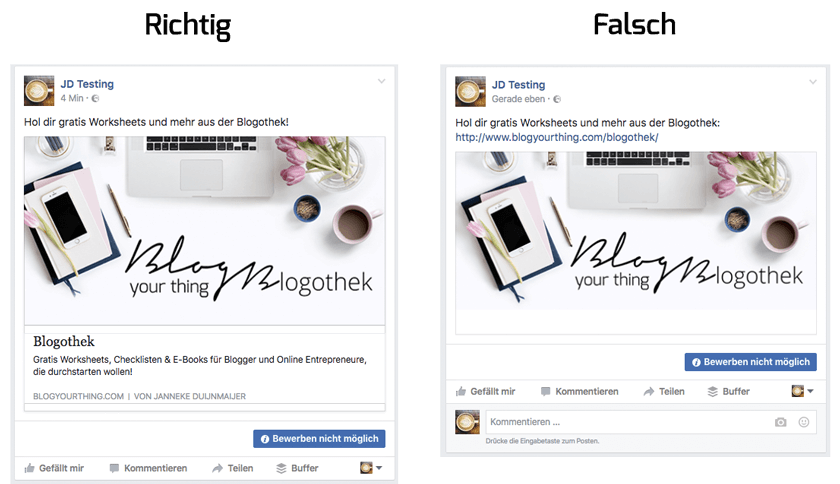 Facebook Basics für Blogger: Links richtig posten