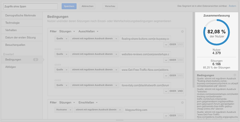 Google Analytics Stolperfalle: Segment ohne Spam