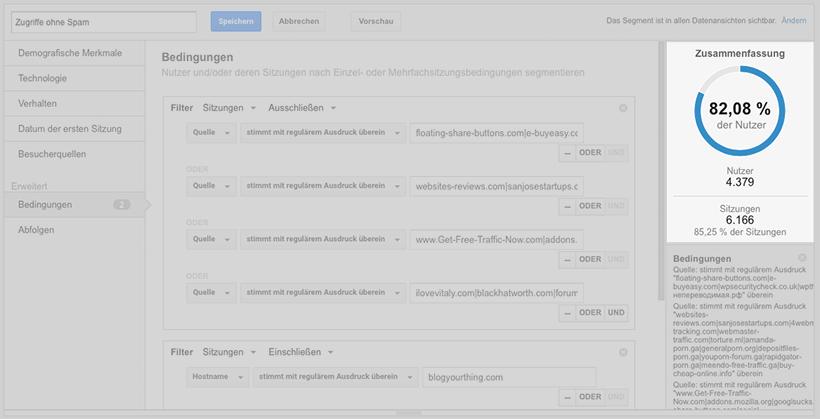Google Analytics Stolperfalle: Segment ohne Spam
