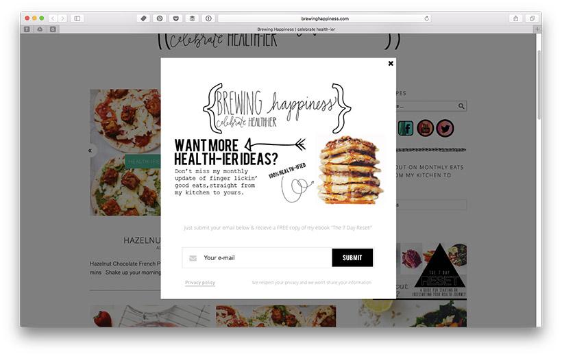 Blog Leser zu Newsletter Abonnenten machen - Anmeldeformular Platzierung: Pop Up
