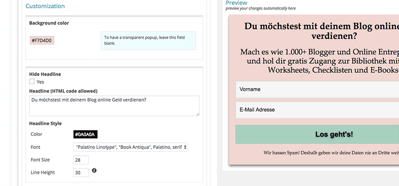 PopupAlly Einstellungen Screenshot