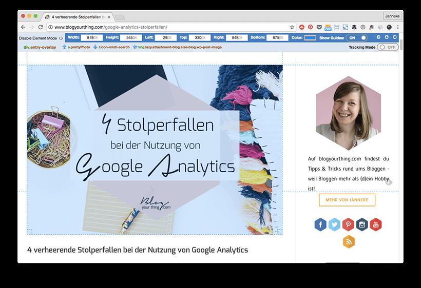 """3 SEO-Fehler beim Bloggen - Die Chrome Extension """"Page Ruler"""" hilft dir festzustellen, wie groß die Bilder auf deinem Blog sein sollten."""