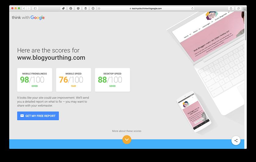 3 SEO-Fehler beim Bloggen - Teste deinen Page Speed auf Think With Google