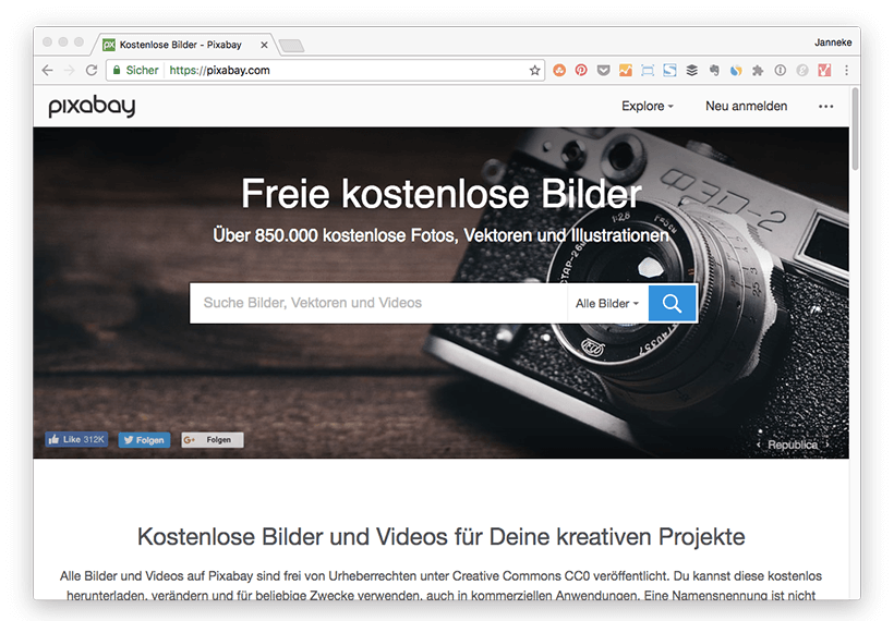 Pixabay ist eine Plattform, auf der Bilder gratis zur freien kommerziellen Verwendung angeboten werden.