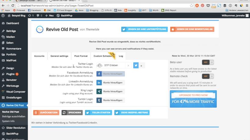 Bloggen automatisieren: mit dem Plugin Revive old Posts kannst du automatisch alte Blogartikel neu teilen