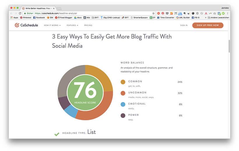 4 effektive Wege wie du mit Social Media mehr Traffic gewinnst: #1 - Coschedule Headline Analyzer