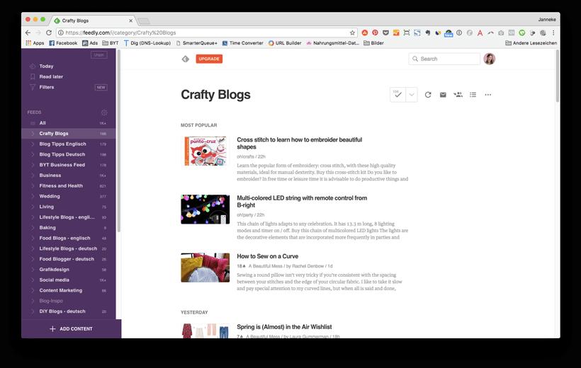 Online Marketing & Blogging Tools für dein Blog Business: Feedly RSS Reader