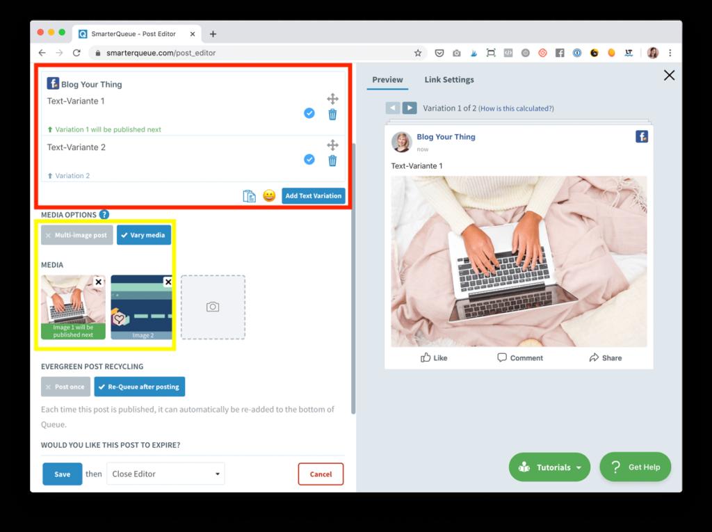Social Media automatisieren für mehr Blog Traffic: Plane verschiedene Postingtexte ein - z.B. mit SmarterQueue