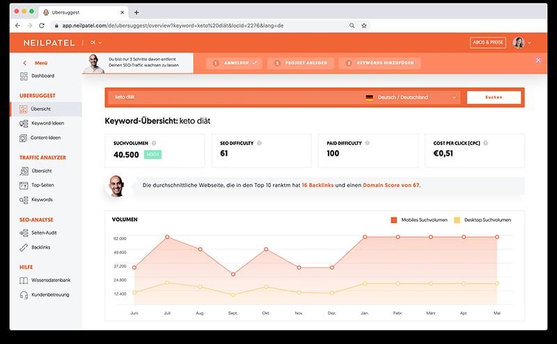 Blog erstellen in 5 Schritten: Thema-Recherche mit dem kostenlosen Keyword-Tool Ubersuggest
