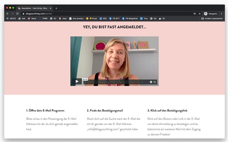 6+1 unverzichtbare Seiten, die jeder Blog zwingend braucht & wie du sie optimierst: Erkläre deinen Lesern auf einer Fast-fertig-Seite nach der Newsletter-Anmeldung, was sie tun müssen um die Anmeldung abzuschließen.