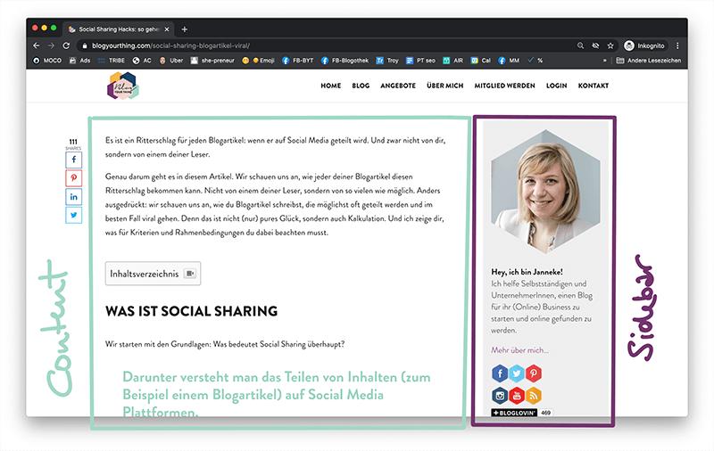 Blogging Glossar: Sidebar